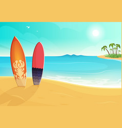 surfboards in different colors sea and sand beach vector image