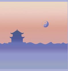 Taoism temple and yin yang symbol vector