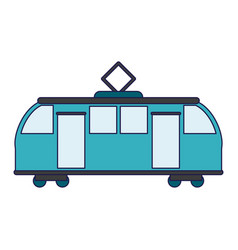 Train on rails sideview isolated blue lines vector