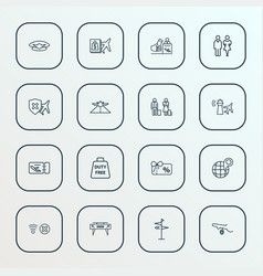 transportation icons line style set with control vector image