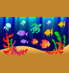 Underwater world with fish turtle jellyfish algae vector