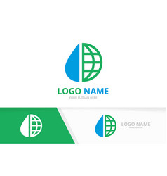water drop and earth logo combination vector image