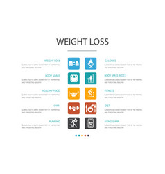 Weight loss infographic 10 option conceptbody vector