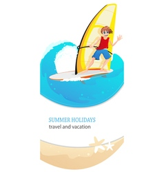 Windsurfer on waves vector