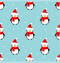 winter pattern with penguin vector image