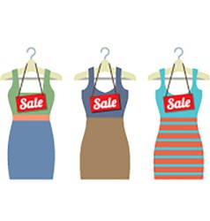 Woman Clothes On Hanger With Sale Tags vector image