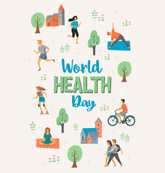 world health day healthy lifestyle vector image