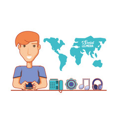 young businessman with social media icons vector image