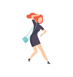 young woman hurrying up looking at watch vector image