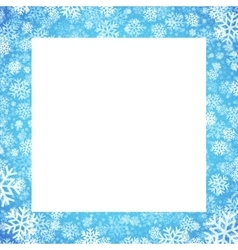 Christmas card with snowflakes frame on blue vector image