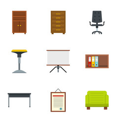 school furniture icons set flat style vector image