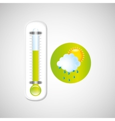 weather forecast rain sun thermometer green icon vector image