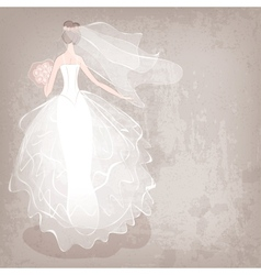 bride in wedding dress on grungy background vector image vector image