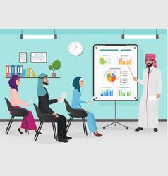 business arab muslim people having board vector image vector image