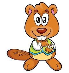 Hand-drawn of an Happy Beaver vector image