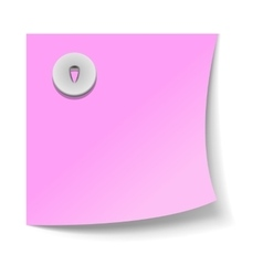 Note paper with push pin icon realistic style vector image