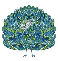 peacock vintage fantasy bird with floral ornament vector image vector image
