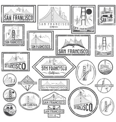Set grunge badges with San Francisco skyline vector image vector image