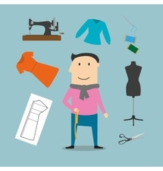 Tailor with sewing tools icons vector image