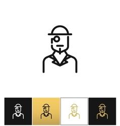 Vintage gentleman logo or retro hat man silhouette vector image