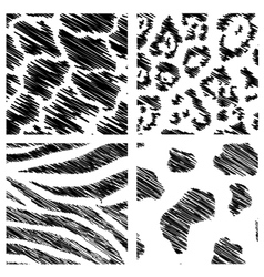 wild animal abstract backgrounds set vector image vector image