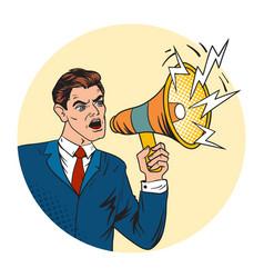 businessman with megaphone pop art style vector image