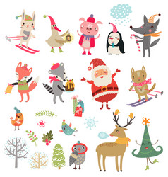 christmas characters set vector image vector image