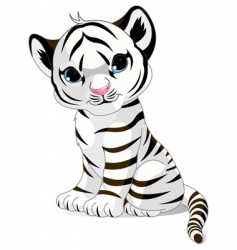 cute white tiger cub vector image