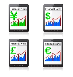 Financial News on Tablet PC Isolated on white vector image vector image