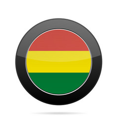 flag of bolivia shiny black round button vector image vector image