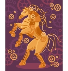 Steampunk Golden Horse Poster vector image