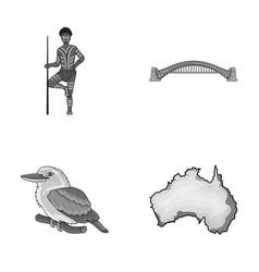 aborigine with a spear sydney harbor bridge vector image