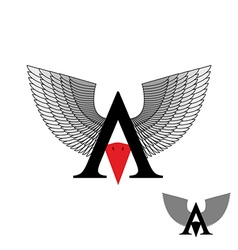Logo letter A wings Sign letter with beak bird vector image