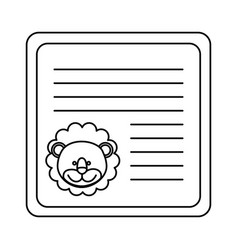 Monochrome card with male lion head vector