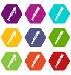 Pneumatic screwdriver icon set color hexahedron vector