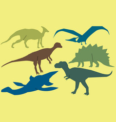 Set of dinosaurs vector