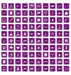 100 combat vehicles icons set grunge purple vector