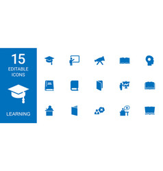 15 learning icons vector