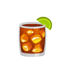 Alcohol cocktail whiskey rum ice lime cola vector