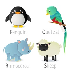 Alphabet with animals from p to s set 2 vector