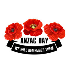 Anzac day icon of poppy flower with black ribbon vector