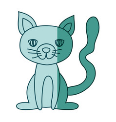 Aquamarine hand drawn silhouette of cat sitting vector