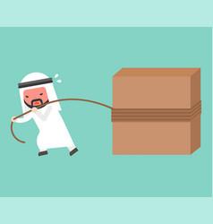 arab businessman work hard pulling block with rope vector image
