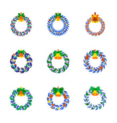 assembly flat shading style christmas wreath vector image