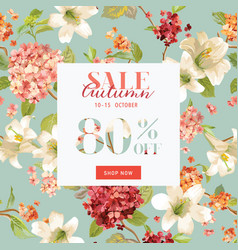 Autumn sale floral hortensia banner for discount vector