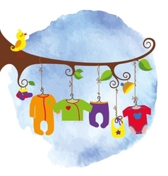 Baby born clothes hanging on the treeWatersolor vector