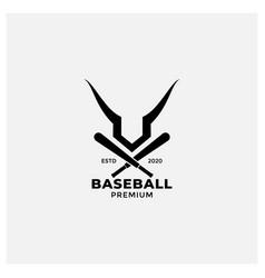 Baseball bat and antlers or horn logo design vector