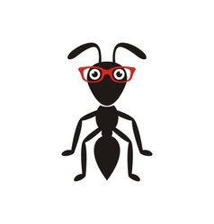 Black ant with glasses vector image