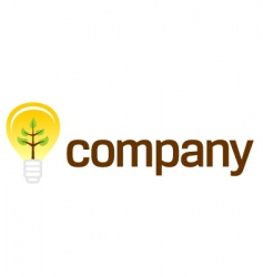 Bulb company logo with plant vector