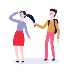 bullying of teen girl with hair pulled vector image